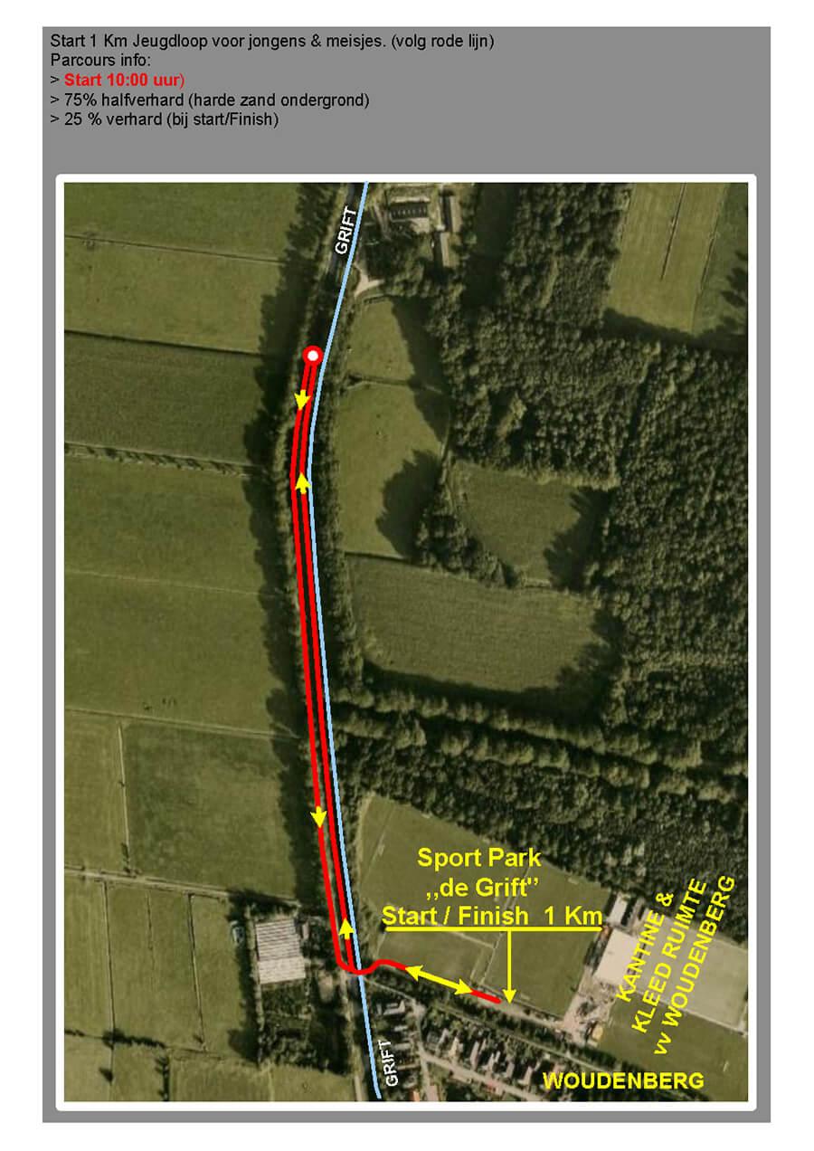De route voor de 1 kilometer.